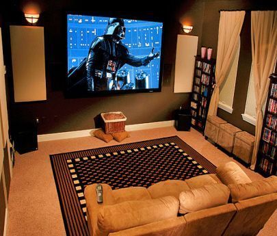 Browse home theater design and living room theater decor inspiration. Discover designs, colors and furniture layouts for your own in-home movie theater.  #HomeTheaterDesign #HomeTheaterIdeas #LivingRoomTheater