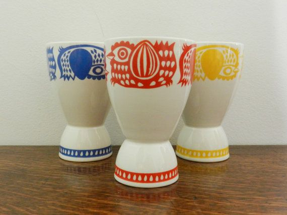 Arabia Finland Double Egg Cup in Red  Mid Century by KeystoneKarma