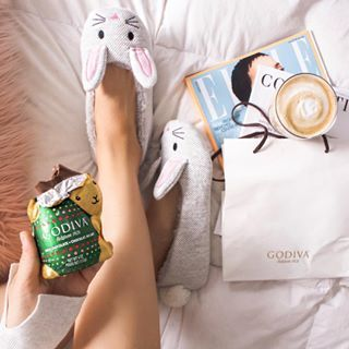 Chocolate bunny with your morning coffee Only when its Godiva #goviachocolate #luxurychocolate #belgianchocoate #chocolatelover