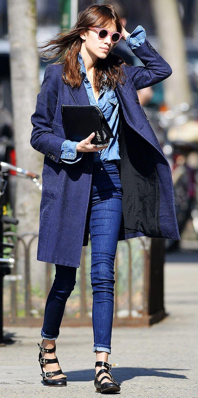 Alexa Chung looking awesome in a denim on denim on denim look. #Blue