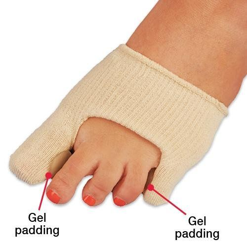 Gel Padded Bunion Toe Sock Cushion. Gel Bunion Toe Sock Relieve pain, pressure and discomfort caused by bunions with this newly designed sock. Cotton/Spandex. Two toe separators help to prevent friction and rubbing. Relieve pain, pressure and discomfort caused by bunions. Wear on either foot. The sock features soft gel pads that cushion, separate, and protect toes. The two toe separators help to prevent friction and rubbing. Features soft gel pads that cushion, separate, and protect...
