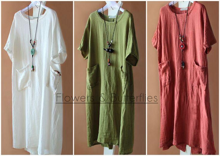 WORLDWIDE FREE SHIPPING Women Linen Dress 3 Colors Long sleeved dress pure color Long Maxi dress natural boho dress woman lagenlook loose by FlowersButterflies15 on Etsy
