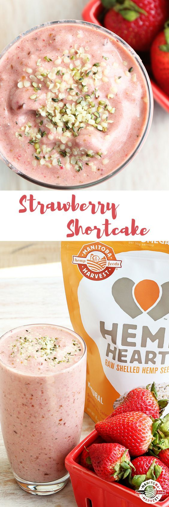 This Strawberry Shortcake smoothie tastes like dessert but it's totally guilt-free! It's made with Hemp Hearts and it's vegan too!