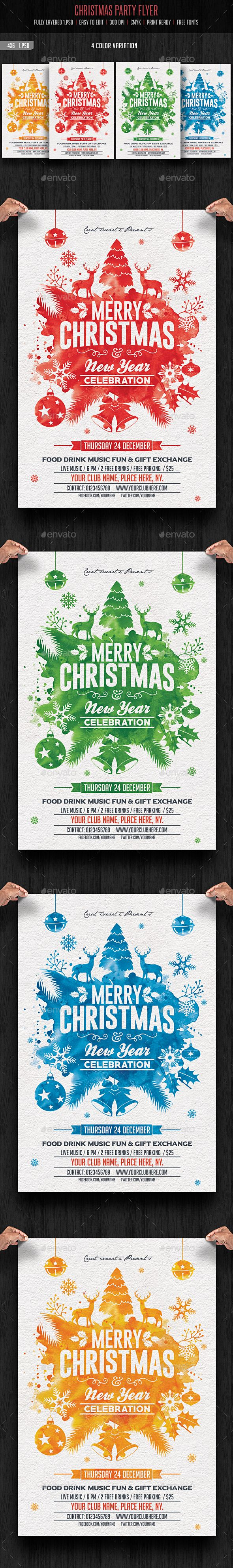 Merry Christmas Party Flyer Template PSD #design Download: http://graphicriver.net/item/christmas-party/13630781?ref=ksioks