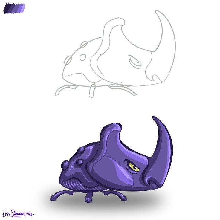 The Rhynobug - Oryctes Nasicornis #character #bug #insect #illustration #concept #digital #painting #umberto #sammartino