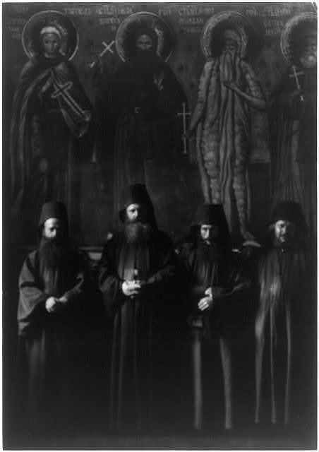 Abbot,monks of Mt. Athos Monastery of Zographou,Greece,photo by Arnold Genthe