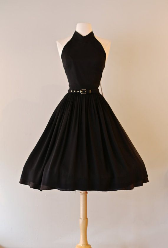 Vintage 1960s Black Chiffon Halter Neck Cocktail Dress