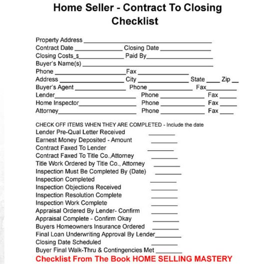 Your home closing will go much smoother by following this checklist.You'll find an incredible amount of information on managing the required legal paperwork is completely laid  out for you in easy to understand language. Home Selling Mastery