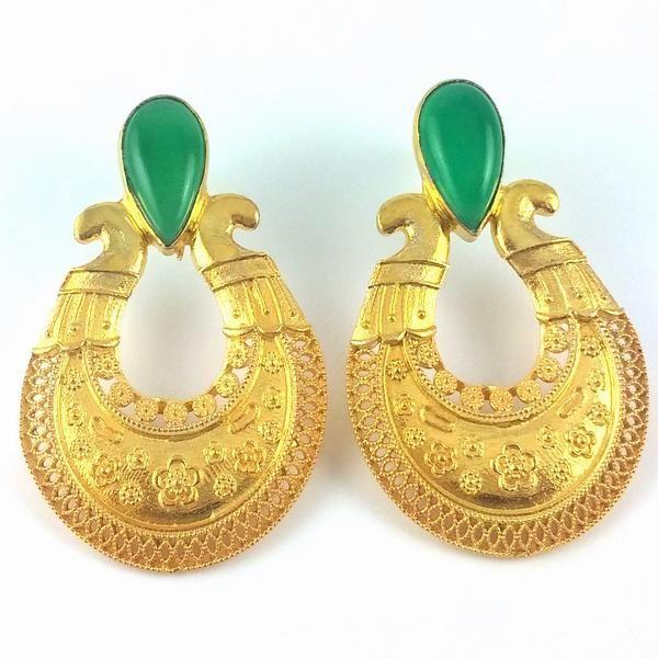 Pendientes indios inspirado en cordoba con ónix verde