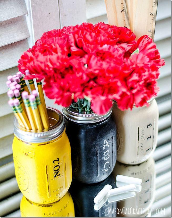 Back to School Mason Jars - Mason Jar Crafts Love