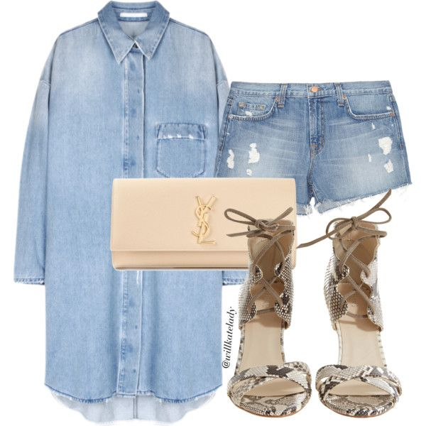 DENIM SHIRT DRESS by willkatelady on Polyvore featuring J Brand, Plomo, Yves Saint Laurent, denim, summerstyle, CasualChic, DenimStyle and casualluxe