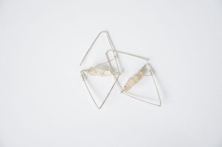 Wire Wrapped earrings with clear quartz, silver