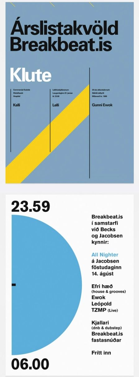 Great minimal poster designs by Icelander, Ragnar Freyr. A nice example of the International Typographic Style.