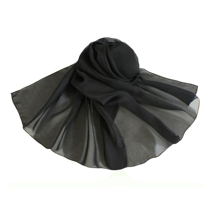 Plain Black Oblong Pure Silk Chiffon Scarf