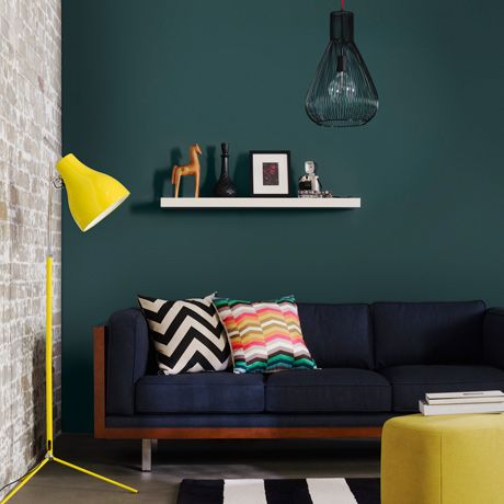 "Freedom furniture ""Draper"" fabric lounge in denim. With yellow floor lamp  http://www.freedom.com.au/"