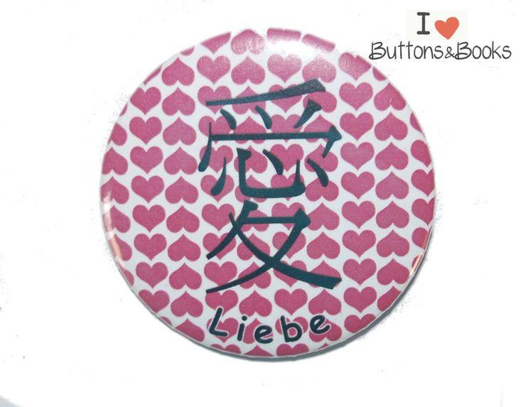 LIEBE+chinesisches+Zeichen++Ansteckbutton+50mm+von+Buttons&Books+auf+DaWanda.com