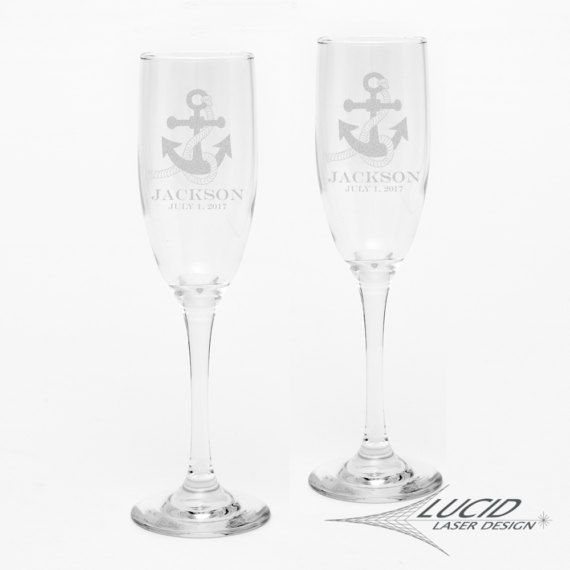 CUSTOM Nautical ANCHOR Wedding Name Engraved Champagne Flute Glass Set ~ Wedding Anniversary Gift ~ Bride & Groom ~ Mr. Mrs. ~ Anchor Navy