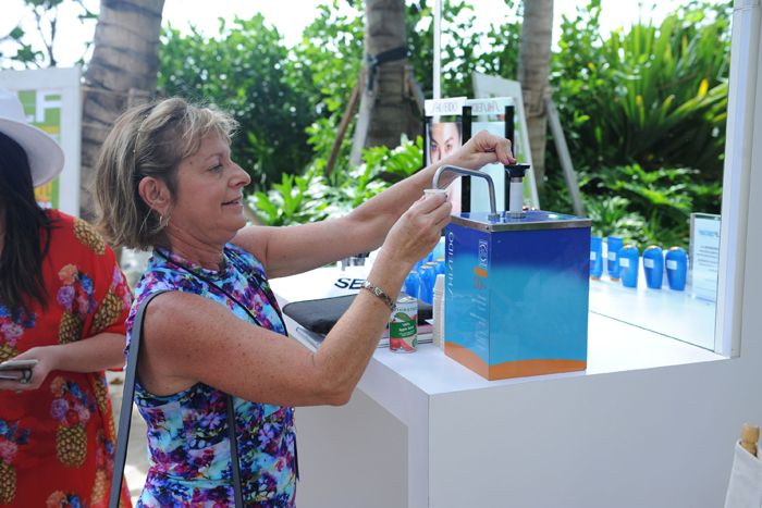 'Self' Magazine and Shiseido Swim Week Brunch: Guests could sample Shiseido sunscreen from a dispenser, along with other beauty products.