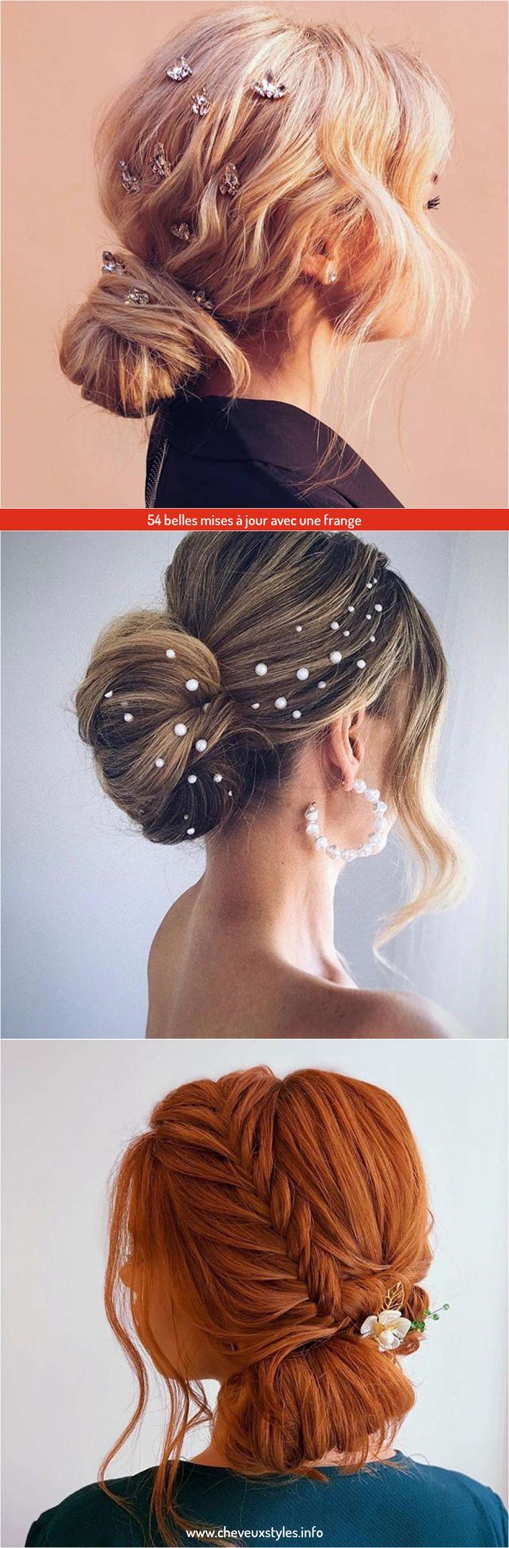 54 belles mises à jour avec une frange en 2020 | Style de cheveux, Chignons avec frange, Frange