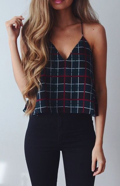 Don't like the plaid print, but I like the cropped top with high waisted jeans.