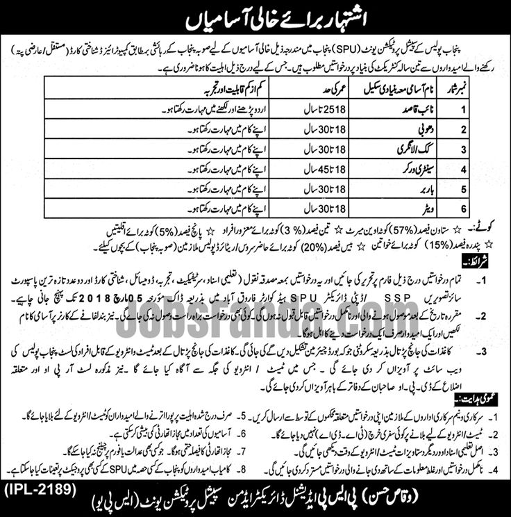 Special Protection Unit SPU Punjab Police Jobs 2018 In Lahore For Naib Qasid And Sanitary Worker https://www.jobsfanda.com/spu-punjab-police-jobs-2018-in-lahore-for-naib-qasid-and-sanitary-worker/