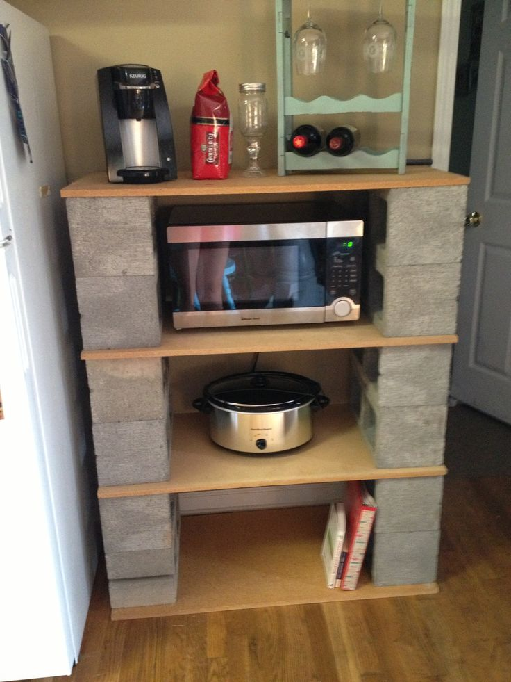 Cinder block shelves