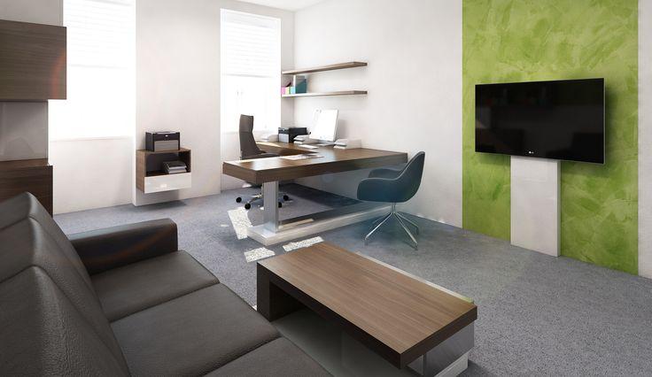 Požadavkem investora bylo vytvořit v části kanceláře sezení s možností prezentace. Jelikož nebylo možno zasekat do zdi přívod elektrické energie k televizi, navrhli jsme jednoduchý nábytkový prvek na zakrytí kabelů.