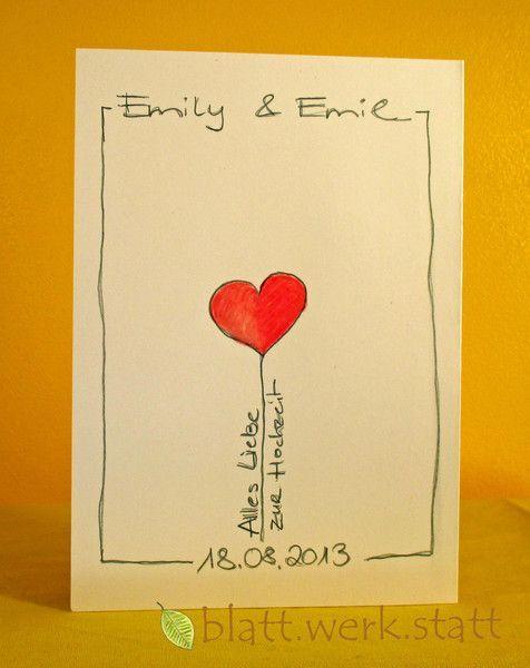 Hochzeit – Glückwunschkarte Hochzeit individuell handgemalt – ein Designerstüc…
