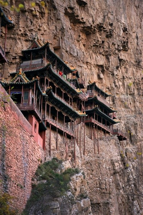 The most dangerous temple in the world ---- The Suspended Temple was built in the late years of the Northern Wei Dynasty (around 471-523 AD), some 1,400 years ago.   Located at the foot of Mt. Hengshan in China's Shanxi Province, the Suspended Temple is nestled in the steep precipices and cliffs of Cuiping Peak west of Jinlong Gorge. The temple was built among the cliffs, suspended in midair. It is arguably the No. 1 spectacle of Mt. Hengshan.