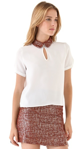Opening Ceremony Crepe Tee with Collar