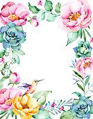Beautiful watercolor frame border with roses,flower,foliage,succulent plant