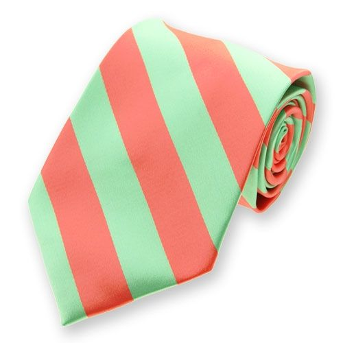 Coral and Bright Mint Woven Striped Tie