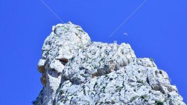 clouds blue sky mountain hills moon Royalty Free Stock Photo