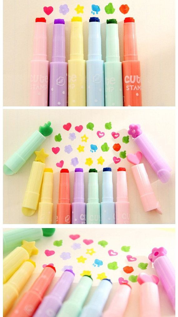 $8.99 On Etsy - Cute Stamp Highlighter Pen Set 6 pcs Korean Stationery By TinyBeesb
