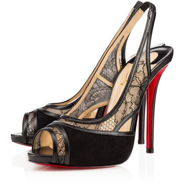 Christian Louboutin Znouba (€885) ❤ liked on Polyvore featuring shoes, sandals, heels, louboutin, christian louboutin, version black, black high heel sandals, christian louboutin slingback, black open toe sandals and christian louboutin sandals