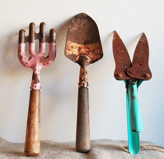 Trio Of Colorful Vintage Garden Tools   Instant Collection