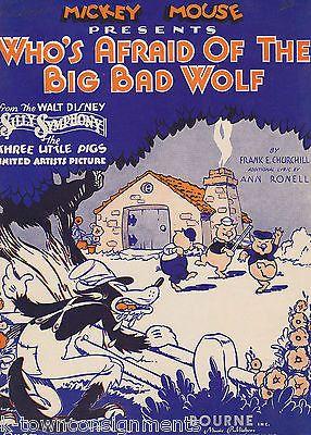 MICKEY MOUSE THREE LITTLE PIGS & BIG BAD WOLF VINTAGE DISNEY SHEET MUSIC 1933