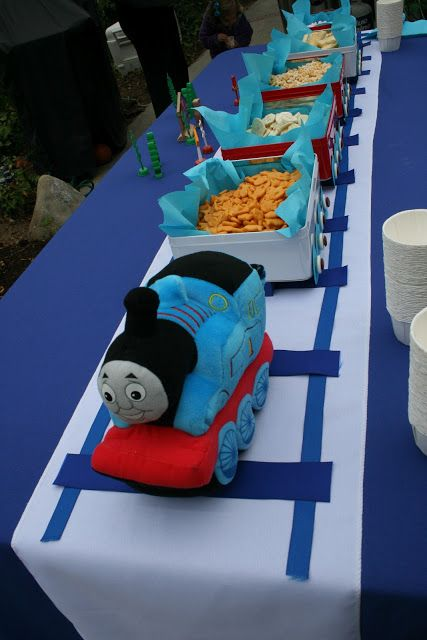 Food train idea - we have a lrg wood train we can use for the engine. Chugga-Chugga, Choo-Choo, My Baby Boy is Two!