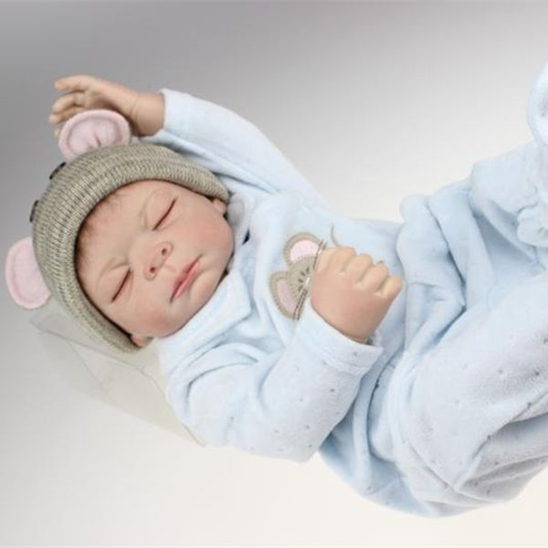 116.59$  Buy here - http://alinhs.worldwells.pw/go.php?t=32707847011 - 20 inch Reborn Baby Doll Realastic Boy Baby Dolls Full Soft Vinyl Lifelike Kids Toys In Soft Blue Baby Clothes 116.59$