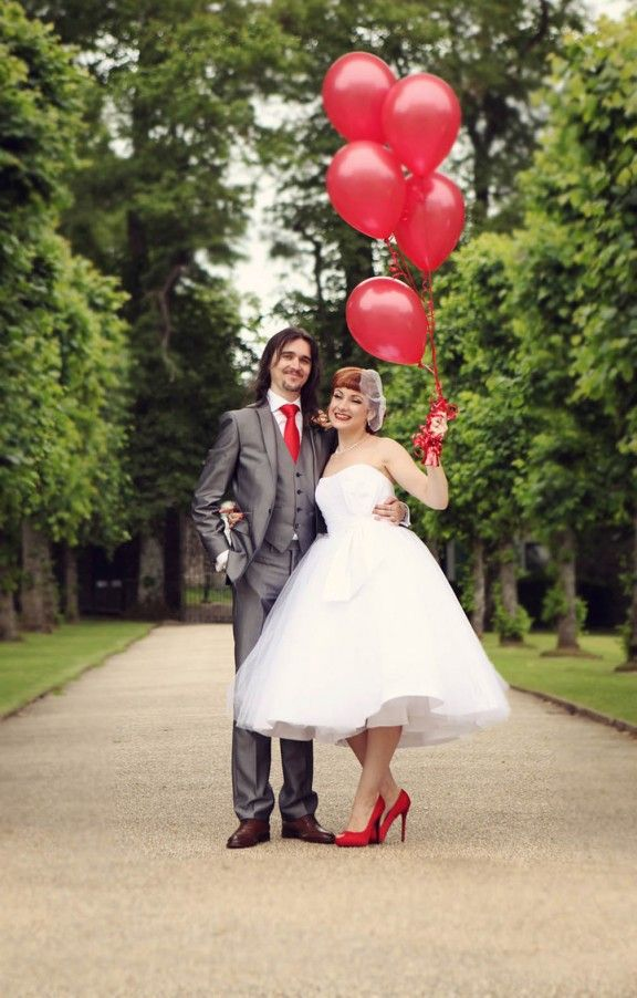 Dress, shoes, balloons...maybe balloons instead of bouquet, saves awkward throwing bouquet moment and cheaper (plus more fun).