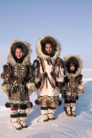 "Eskimos get to be defined as ""members of an indigenous people of Greenland, northern Canada, Alaska and northeastern Siberia, characterized by short, stocky build and light-brown complexion."""