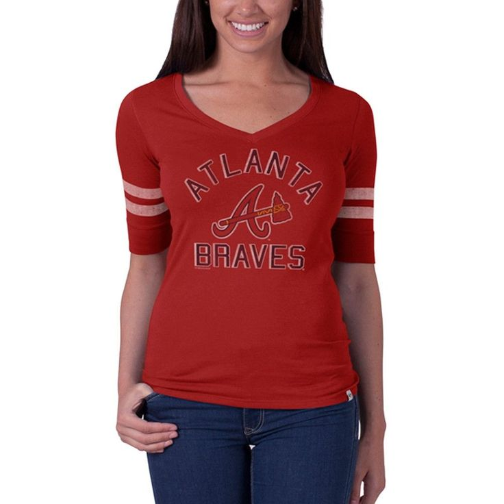 Atlanta Braves - Flanker Logo Half Sleeve Juniors V-Neck T-Shirt