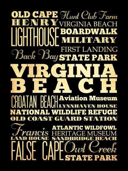 Virginia Beach, Virginia, Typography Art Poster / Bus/ Transit / SubwayRollArt18X24-VirginiaBeach's Attractions Wall Art Decoration-LHA-204