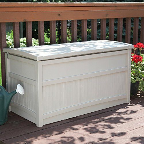 Suncast Deck Box Heavy-duty, recycled plasticNeutral, light taupeStay-dry design; 99 gallon storage  http://outdoorgear.mobi/product/suncast-deck-box/