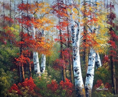 100 Hand Painted Aspen Tree Forest Autumn Colors Red
