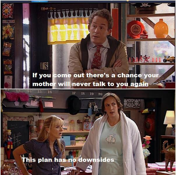 When Miranda and Stevie pretended to be lesbians to stop Miranda's mom from pressuring her into finding a man! HAHAHAHA!