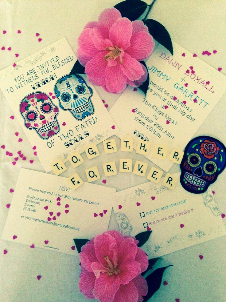 Sugar Skull Wedding Invite, RSVP and Save The Date Card