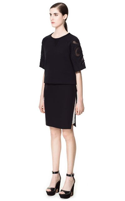 Image 1 of COMBINATION SKIRT WITH SIDE SLITS from Zara