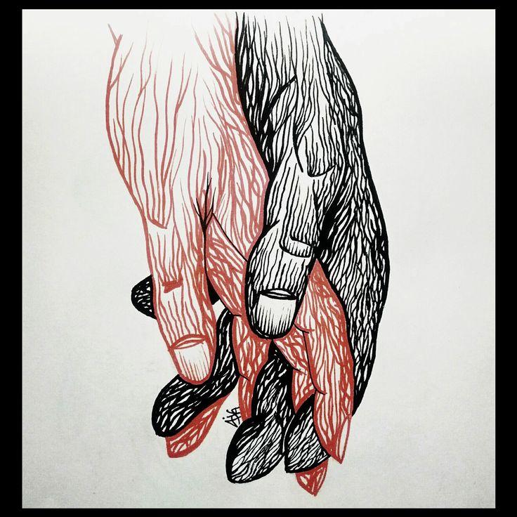 Dibujo en tinta. Manos entrelazadas. Ink Drawings. Holding hands.