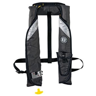 Mustang survival eliminator auto inflatable vest with m i for Bass fishing life jacket